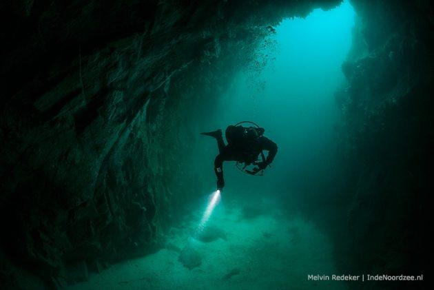Exploratie duiken op de grens van de Atlantische oceaan en de Noordzee