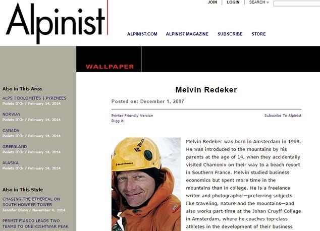 The Alpinist Melvin Redeker
